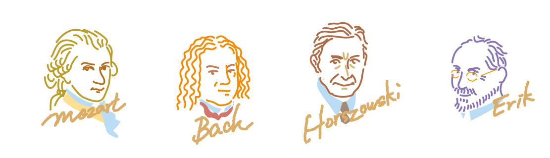 クラシック特集の記事内、偉大な音楽家を超シンプルアイコンに