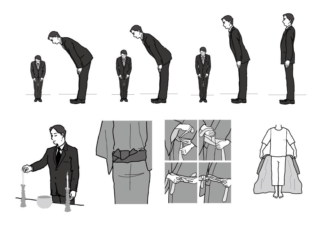 小笠原流作法 お辞儀の角度 男の着付け 葬儀